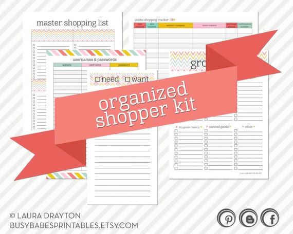 Organized Shopper Kit - Printable Shopping Lists, and Online Username and Passwords Tracker - INSTANT DOWNLOAD