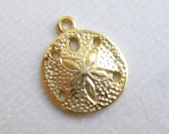 Gold Sand Dollar Charm --  1 Piece -- Gold Plated 925 Sterling Beach Pendant Nautical Connectors