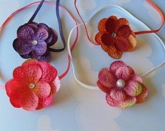 Petite Variegated Hydrangea Headbands ... Set or Four ..Baby Girl Headbands.. Photo Prop