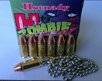 "Replica 9mm bullet Pendant Necklace With Hornady Zombie Max Bullet And 24"" Dog Tag Chain"