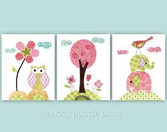 Nursery art print, Kids room wall art, Nursery decor, Girls room, set of 3 print - Spring time special