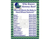 Boy Baby Shower Game, Navy and Lime Baby Shower Game, Who Knows Mommy Best Printable Game, Blue and Green Theme Baby Shower Game