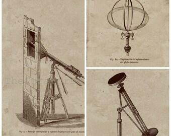 Decor Set of 3 Prints, Decor Astronomical Instruments Prints, Vintage Image, Techical Drawing Art, Wall Decor Set.