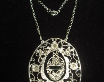 Nature themed Silver with Marcasite Accents Pendant Necklace