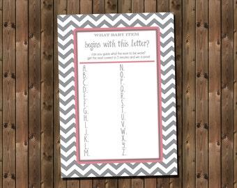 Baby Shower Alphabet Game Card, Instant Download, Digital file,