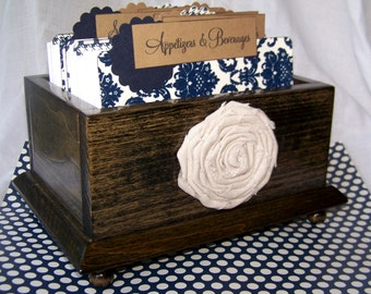 Recipe Box - Dividers and 4 x 6 Recipe Cards - Navy Blue and Ivory Damask,  Wooden dark charcoal stained Box