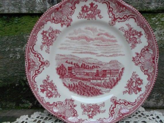 Johnson Brothers 8 Chatsworth Plate Red Transferware