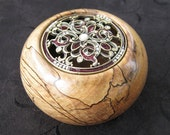 Spalted Sycamore Vessel with Pewter Fleur-de-Lis Lid