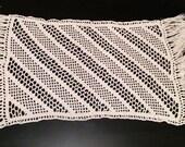 Ecru cotton table runner handmade crochet