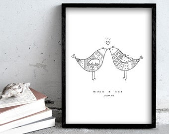 Personalized art print, wedding present, love birds illustration, 30x40 black pen print, birds in love
