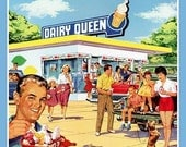 Fridge Magnet Dairy Queen advertisement illustration shows Restaurant and people eating ice cream