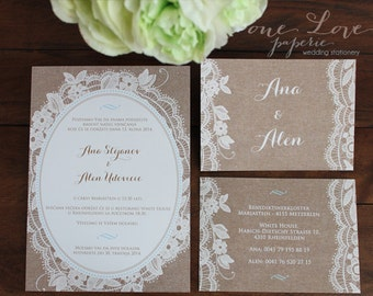 Romantic Lace And Burlap Wedding Invitation Custom Colors Starting At