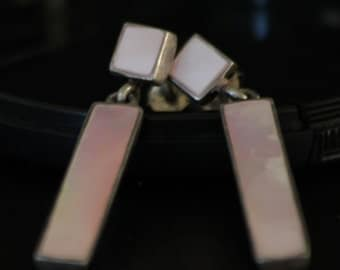 ON SALE! Gorgeous Mother of Pearl with a Hint of Rose and Silver Post Dangle Earrings