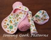Baby Sewing Patterns - PDF Sewing Pattern - Receiving Blanket, Bib, Burp Cloth, Hat Gift Set - Instant Download