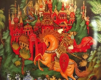 Outrageous Vintagious Vintage Mythical Warrior Intricate Art Collector Bradex Plate 1988, Russian Palekh Plate
