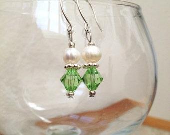 SALE Swarovski Peridot Bi-cone Crystal and Natural Freshwater Pearl Bead Dangle Earrings Elegant Christmas Holiday Jewelry Gifts Under 00