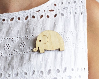 Laser Cut Wooden Elephant Brooch