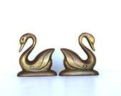 Vintage Pair Of Brass Swans