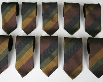 Striped skinny neckties, 80's vintage, washable green brown and black neckties, best men neckties, more available