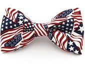 Red / White / Blue Patriotic USA American Flag Clip On Bow Tie