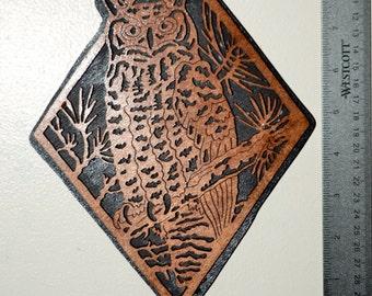 Diamond Owl Scroll Saw Wall Plaque