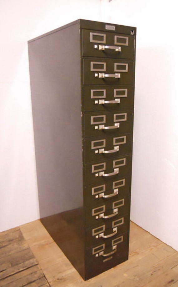 Vintage 10 Drawers Card File Cabinet Price Reduction Metal
