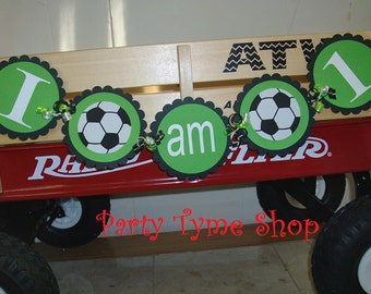 Soccer Themed Sports Birthday Banner . I AM 1 One Highchair Banner . First Birthday Party Decorations in Black Green White