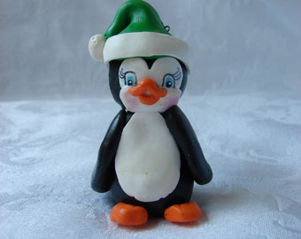 Personalized Penguin Childrens Polymer Clay Christmas Ornament, Figurine.  A  Hand Crafted Art Sculpture.