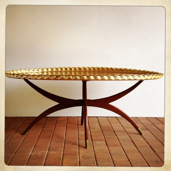 Large Gold Coffee Table Tray: Vintage Brass Tray Table Spider Wood Base By