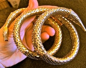 Vintage WHITING & DAVIS Mid Century Three (3) Coil Gold Tone Mesh Snake Serpent Bracelet  Med. - Lg. Signed Jewelry