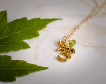Gold Ohm Necklace with BIrthstone - Yoga Necklace with Peridot - Dainty Gold Necklace for Layering - Zen Jewelry - Yoga Love Gift