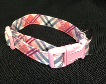 Pink plaid collar