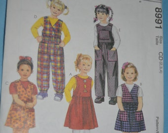 McCalls 8991 CHildrens Jumper and  Jumpsuit Sewing Pattern - UNCUT - Size 2 3 4