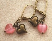 Earrings, red or pink glass and antiqued brass hearts, dangle, Valentine's Day (tnd)