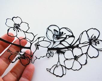 Flowering Branchlet (Cherry) Papercut + color print