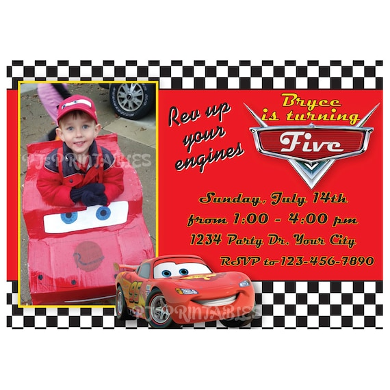 Lightning McQueen Cars Birthday Invitation Custom Digital File by PJ'sPrintables Catch My