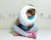 MR SLEEPY MOON - White Cushion / Pillow Crescent Half Moon Baby Nursery Kids Childrens room decor