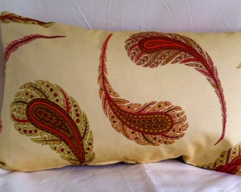 Custom Single Feather/Paisley Accent Kidney Pillow Cover- 12 x 20 Inch-Free Shipping.