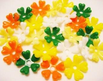 Vintage Flower Beads 5 petal 60's colors or Romance Mix