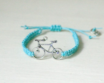 Bicycle Charm Bracelet, Macramé Friendship Bracelet, Bicycle Bracelet, Gifts For Cyclists, Stocking Filler, Stocking Stuffer