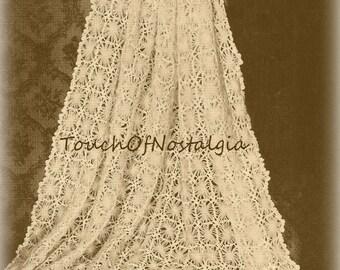 Lacy Baby SHAWL  Crochet Pattern - DAISY LACE Baby Shawl / Blanket  - Daisy Loom Motifs / Use Vintage Daisy Loom