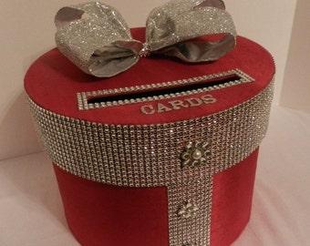 Wedding Card Box  Red & Silver  Bling Mesh Wrap