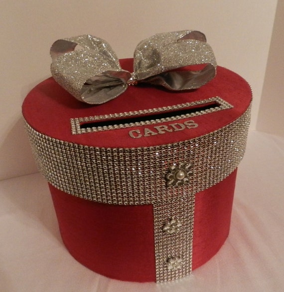 Wedding Card Box: Wedding Card Box Red & Silver Bling Mesh Wrap