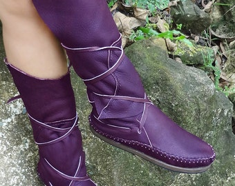 Hand Stitched Purple Leather Moccasins, Moccasin Boots, Womens Moccasins, Leather Moccasins, Mens Leather Boots,  Womens Boots, Purple Boots