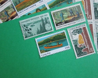 Camping and Hiking ... Unused Vintage Postage Stamps ... Enough to Mail 5 letters