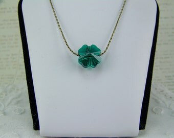 Shamrock Necklace, Four Leaf Clover, Swarovski Crystal, Crystal Shamrock Necklace, St. Patrick's Day, Emerald Necklace, May Birthstone