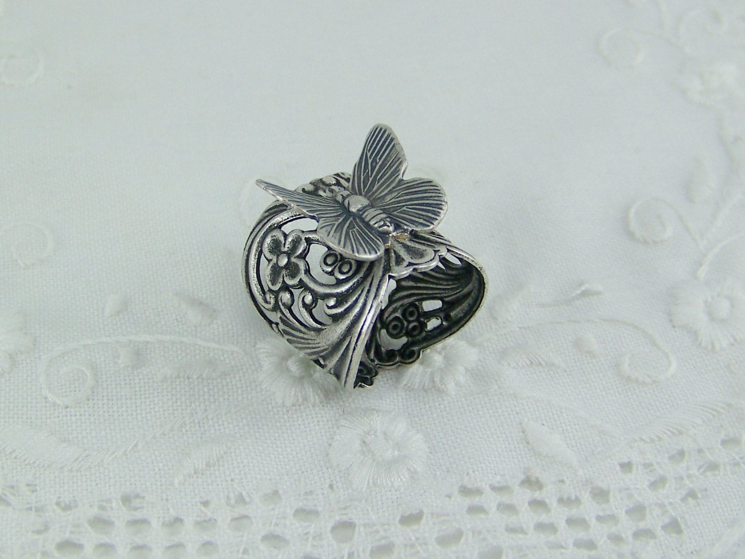 silver butterfly ring oxidized silver filigree ring