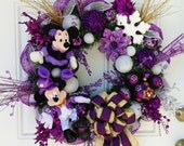 Purple Christmas Wreath with Mickey and Minnie Mouse