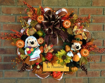 Thanksgiving Wreath Mickey and Minnie Mouse