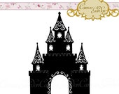 Digital Clipart - Silhouette Filigree Castle - Clip art for scrapbooking, princess invitations, Commercial Use Instant Download